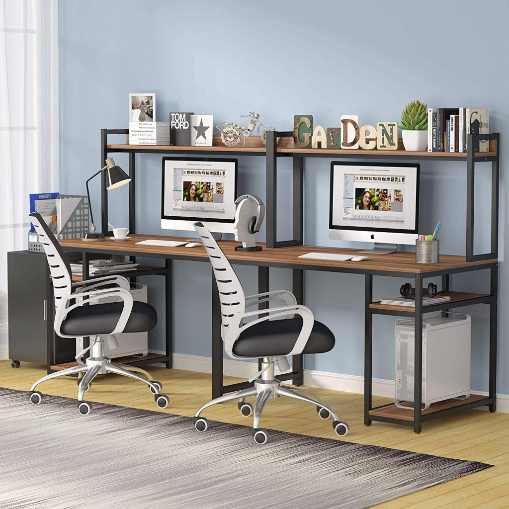 Extra Long Two Person Desk with Storage Shelves