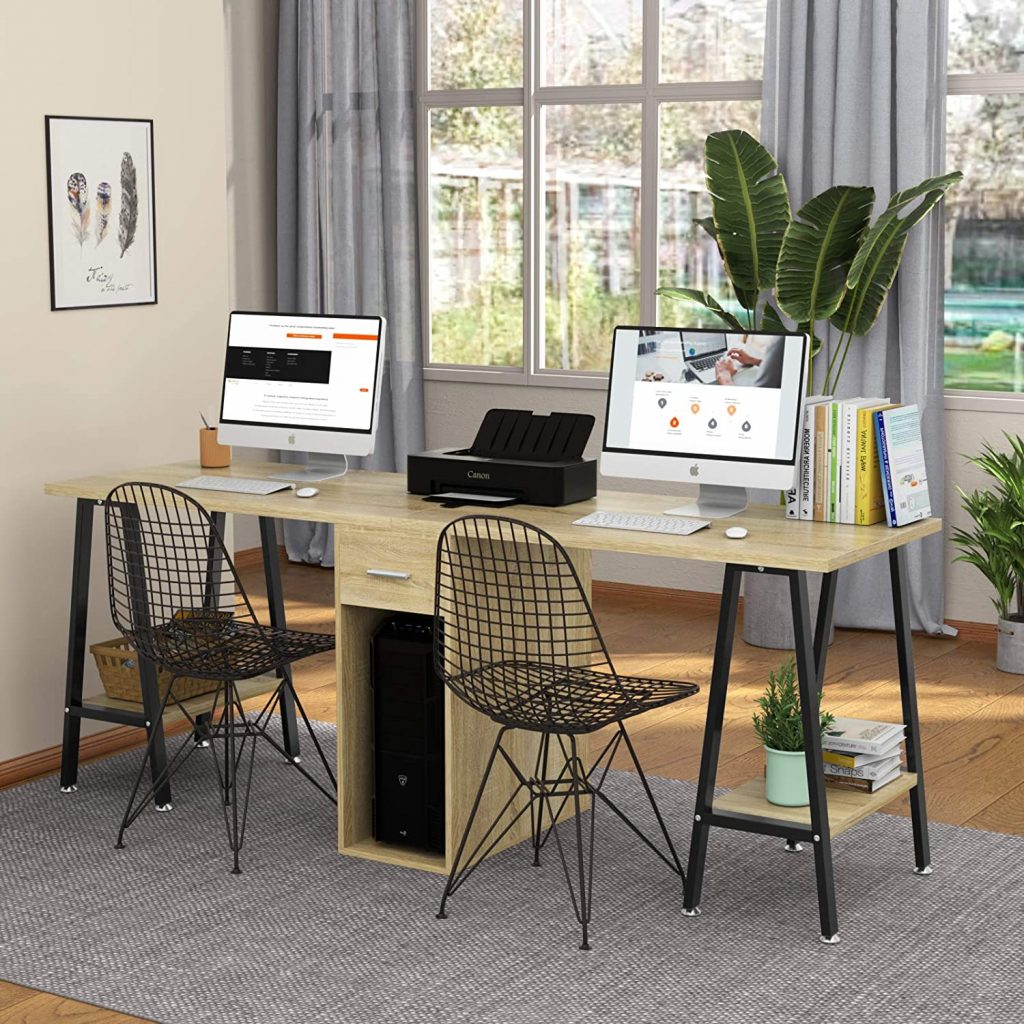 Double Computer Desk with Drawer Extra Long Office Work