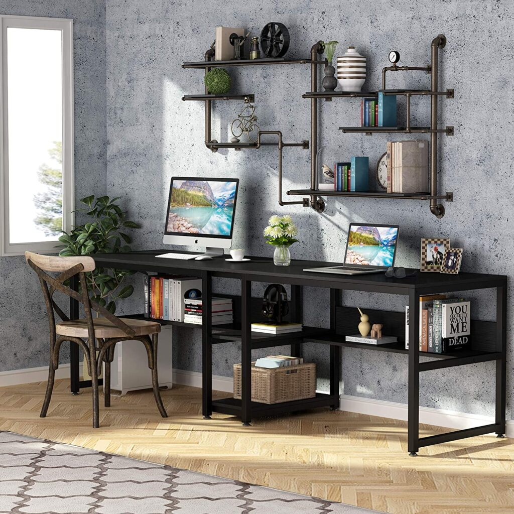 Tribesigns Two Person Desk with Bookshelf