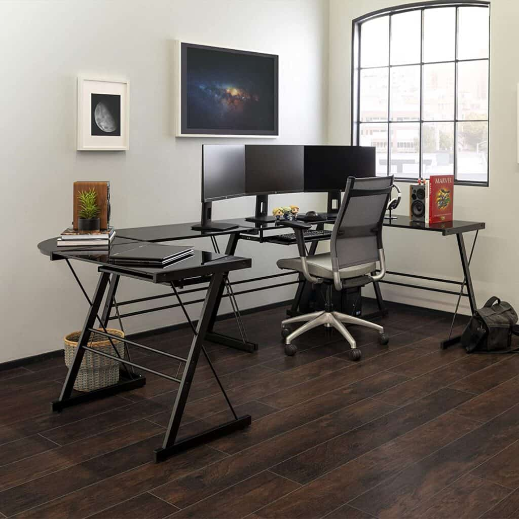 Modern Glass Top L Shaped Corner Gaming Desk with Computer Keyboard Tray